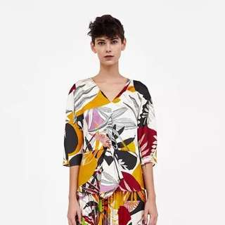 European and American style flower print knot loose short-sleeved blouse