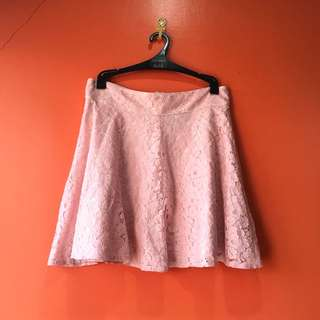 Pink, laced skater skirt from TOPSHOP