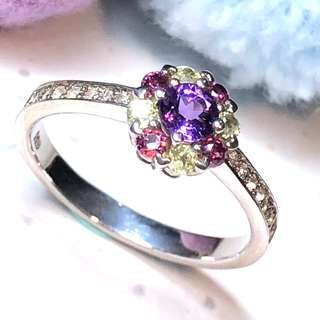 Amethyst + Tourmaline Silver ring, proposal ring ER003