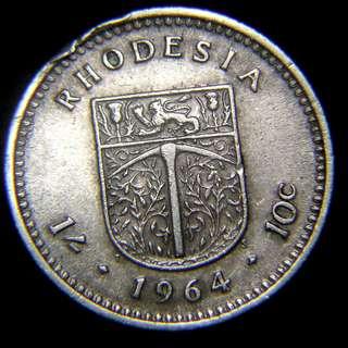 1964年英屬羅德西亞皇獅工鑿殖民徽1先令/10仙鎳幣(英女皇伊莉莎伯二世像)
