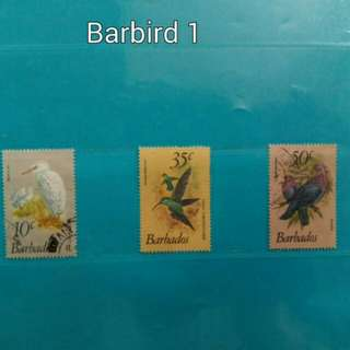 Set of 3 Barbados stamps, birds