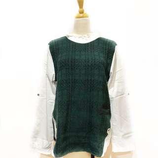 綠色格子拼接毛衣