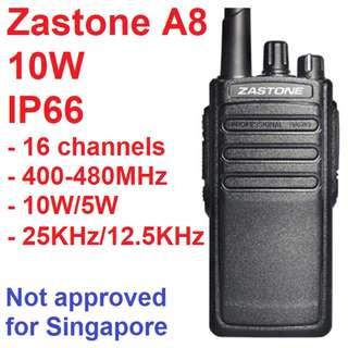 10W Zastone A8 IP66 Extra Long Range Waterproof Walkie Talkie UHF 400-480Mhz Frequency Portable CB Handheld Two Way Radio