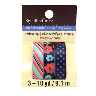 Navy & Coral Print Washi Tape by Recollections