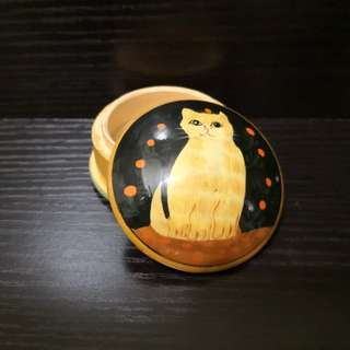 Wooden cat motive jewelry box