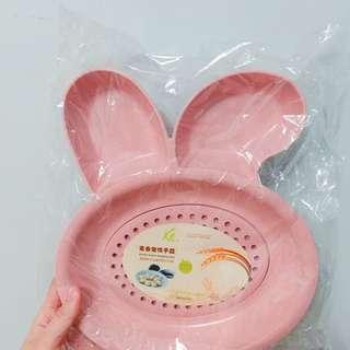 兔仔造型食物盤 耳仔兩邊可以放醬油