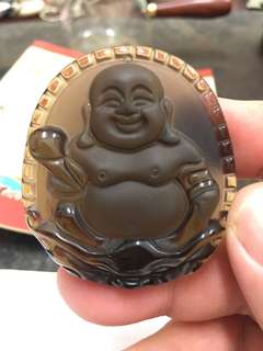 Ice Obsidian with Laughing Buddha-冰晶黑矅石
