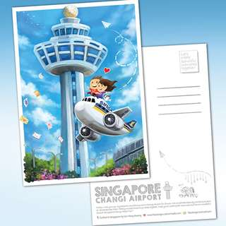 Changi Aiport Illustrated Postcard