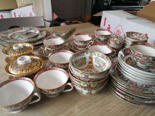 D7 Chinese Hand Painted Tea Set and Dinning Set (altogether 59pieces)