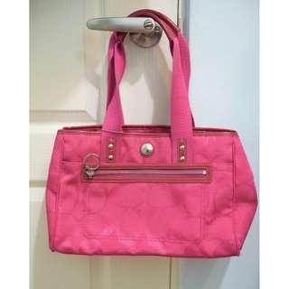 Coach 粉紅色 肩背手拿大c帆布包 A1093-F14876