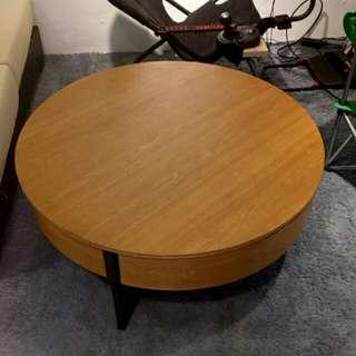 矮圓桌 實木👉有抽屜