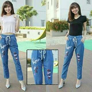 2 Warna Celana jeans wanita boyfriend KEISHA Jeans boyfriend bordir