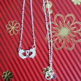 Genuine 925 Sterling Italy Silver Duo Hearts Entwined w/ Stones Necklace