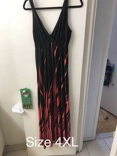 Red and black floor length dress