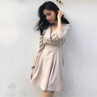 歐風chic氣質V領高腰綁帶五分袖連身裙