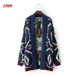 歐美時尚休閒渡假日韓系異國復古個性造型波西米亞民俗風嬉皮幾何印花圖騰針織外套