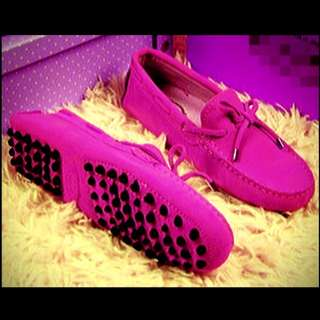 Cow Leather Suede Fuchsia Moccasin