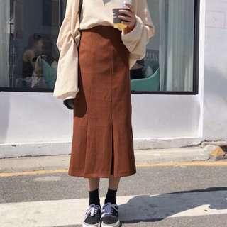 韓國焦糖色顯瘦A字裙高腰裙