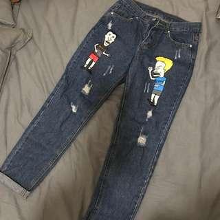 深藍色九分褲