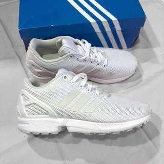 ADIDAS ZX FLUX🖤🖤全白反光網布球鞋 S79093 23.5
