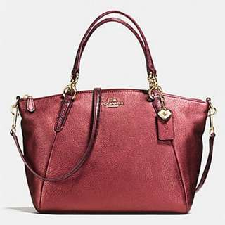 SMALL KELSEY SATCHEL IN METALLIC LEATHER WITH EXOTIC TRIM