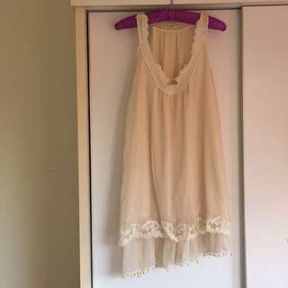 不規則雪紡長洋裝(米黃色)