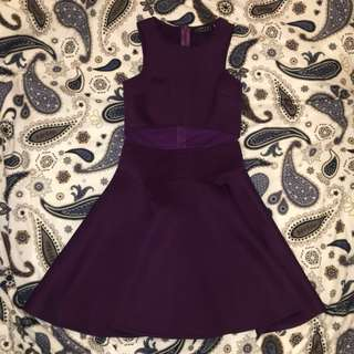 Ezra by zalora purple mesh insert skater dress