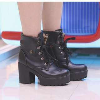 IMPORTED Korean Heels Black Boots