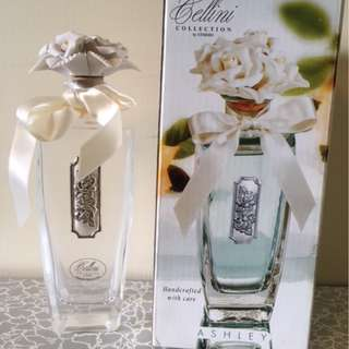 Cellini Collection by Studio Crystal Perfume Bottle Porcelain Flower Stopper
