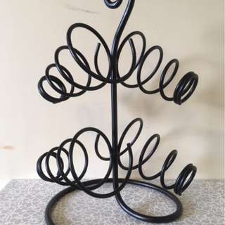 4-Bottle-Black-Metal-Wrought-Iron-Table-Top-Wine-Rack-