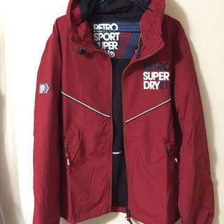 (正品)superdry 極度乾燥 酒紅風衣外套