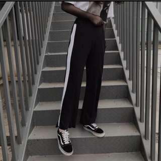 黑白拼接運動褲