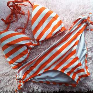 Striped Orange Bikini