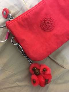 Red wallet card purse Original Kipling with Monkey