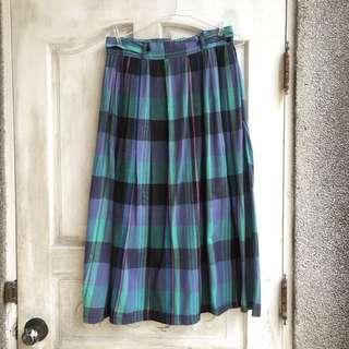 古著/紫綠格紋棉質圓裙