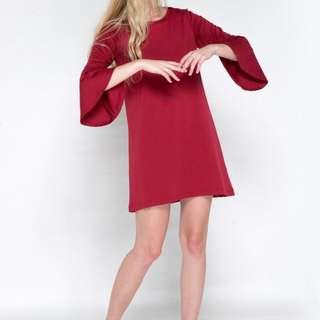 Colorbox bellsleeve red dress