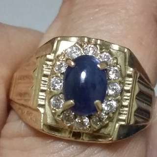 blue saphire 375k gold ring