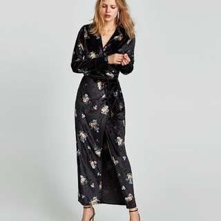Zara floral velvet dress Kimono