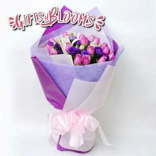 Fresh Flower Bouquet Anniversary Birthday Flower Gifts Graduation Roses Sunfowers Baby Breath -  268AC