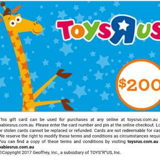$200 TOYS R US DIGITAL EGIFT VOUCHER