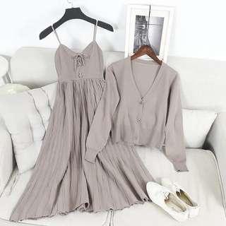 c908 韓版時尚中長裙吊帶背心裙針織小外套連身裙