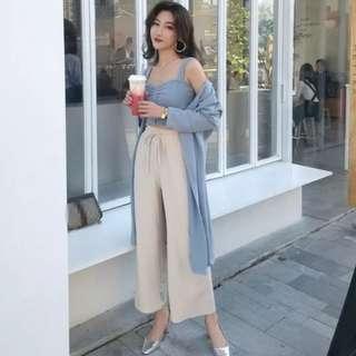 時髦溫柔氣質修身小背心 +純色開衫外套