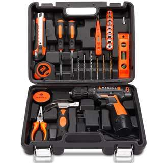 Professional Household Tools Set with Cordless 12v Lithium Drill +( Extra Lithium Battery) US Plug - Delivery by Qexpress