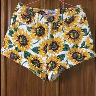 歐美向日葵夏季高腰顯瘦短褲