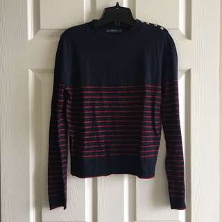 Zara💙dark blue with red lined long-sleeve top