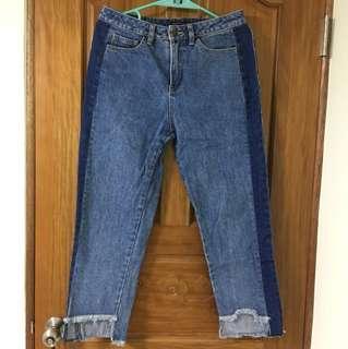 高腰撞色拼接不規則牛仔長褲