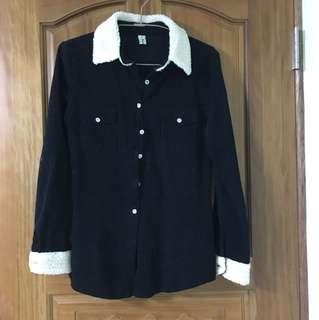 古著燈芯絨羔羊黑色襯衫