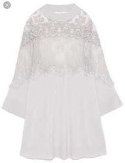 日本正品Snidel全新白色蕾絲連衣裙