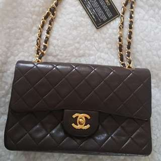 CHANEL Brown doubleflap vintage*