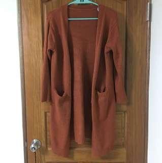 韓版針織毛衣南瓜磚紅長版開衫外套罩衫